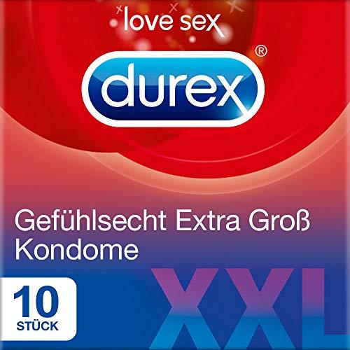Durex Gefühlsecht Extra Groß Kondome – XXL Kondome für intensives Empfinden und innige Zweisamkeit – 10er Pack (1 x 10 Stück)