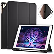 Ztotop Newest iPad 9.7 Inch 2017/2018 Case with Pencil Holder - Lightweight Soft TPU Back Cover and Trifold Stand with Auto Sleep/Wake, Protective for iPad 6th/5th Generation(Black)