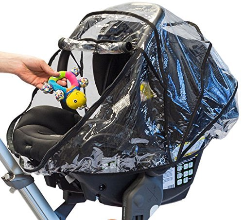 guzzie+Guss 3-in-1 Rain Cover, Fits Most Bassinets, Car Seats, and Pod Style Stroller Seats, Raincover Features Quick-Access Zipper Door and Side Ventilation