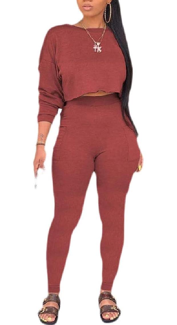 リテラシー場合ミスペンドWomens Tracksuit Long Sleeve Crop Top and Long Pant Sweatsuit Set