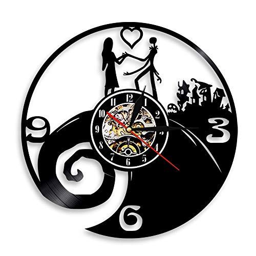 Enofvd Navidad Disco de Vinilo silencioso Colgante de Pared Reloj de Arte decoración de la habitación de Calabaza Reloj Exclusivo 12 Pulgadas