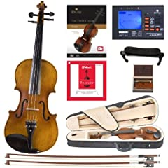 Size 4/4 (Full Size) violin with solid spruce wood top, flamed maple back, neck and sides with inlaid purfling in satin antique finish Ebony fingerboard, pegs chinrest, and tailpiece with 4 detachable nickel plated fine tuners Strung with D'Addario P...