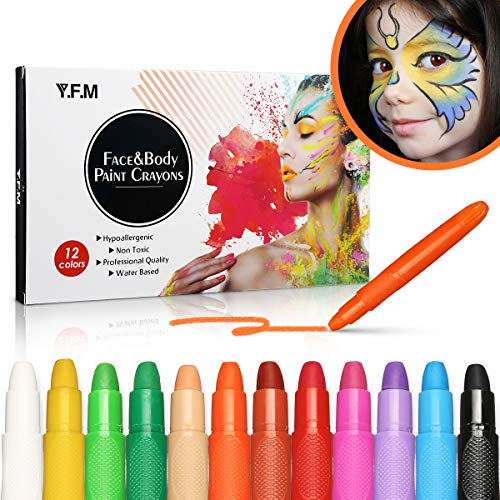 Paint Crayons Kit, Y.F.M Face&Body Paint Crayons, Safe, Non-Toxic Body Painting Sticks Kit, Easy to Use and Wash Off, Facepaint for Kids/Children