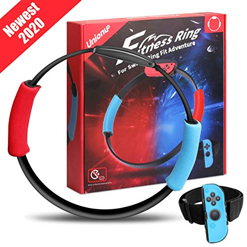 Unionup Fitness Ring for Nintendo Switch Ring Fit Adventure, Ring Con and Leg Strap for Sports Games, Yoga Accessories Compatible with Nintendo Switch Ring-Con