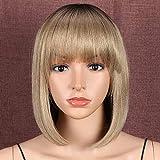 Style Icon Peluca de 12 pulgadas Bob peluca sintética ombre rubia corta recta calidad pelucas para las mujeres de aspecto natural raíces oscuras resistente al calor fibra