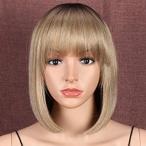 Style Icon Perruque synthétique de 30,5 cm - Blond ombré - Cheveux courts et raides - Pour femme - Aspect naturel - Racines foncées - Fibre résistante à la chaleur