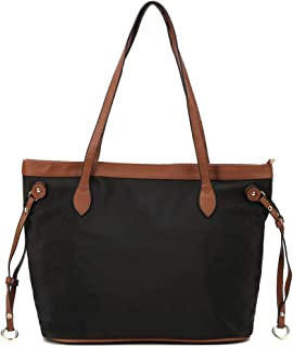 Fashion Nylon Tote Bag With Leather Handles Women Light Weight Casual Shoulder Bag