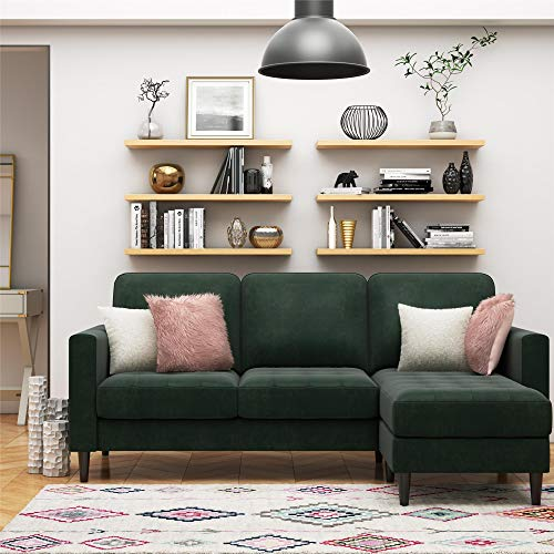 CosmoLiving Strummer Modern Reversible Sectional Couch Upholstered in Green Velvet Fabric with Floating Ottoman