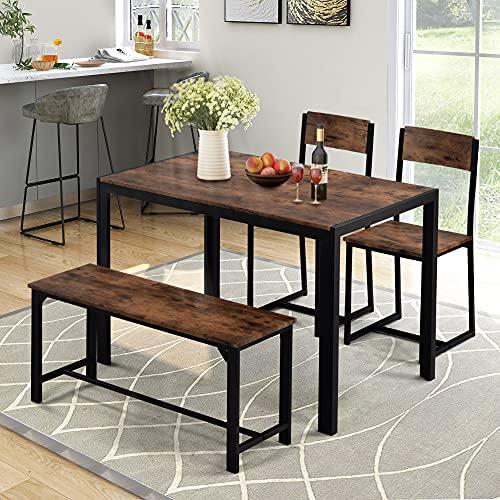 YOTH Mesa de comedor y sillas, Juego de banco de estilo industrial retro de cocina mesa de comedor (marrón rustico)