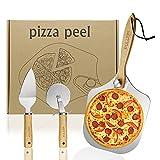 Pizzaschieber Pizzaschaufel Pizza Schieber Schaufel - Pizzaschneider Pizzaheber für Pizzastein Aluminium Metall Edelstahl FULUDM mit Holzgriff, 30.5x35.5cm