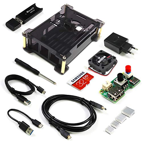 Freenove Starter Kit for Raspberry Pi 4 B, Acrylic Protective Case, Adjustable Cooling Fan, Power Switch, 32 GB SD Card, 3A Power Supply