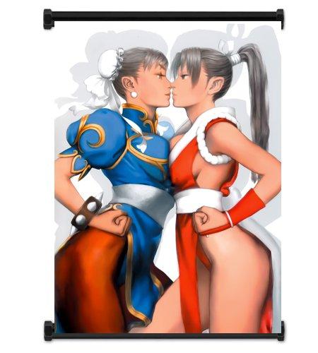 "Street Fighter Anime Game Chun Li and Mai Shiranui Fabric Wall Scroll Poster (32""x42"") Inches"