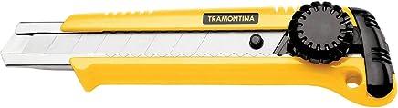 Tramontina 43390301, Estilete Retrátil 6, Corpo Injetado, Lamina em Aço Especial, Botão para Trava da Lamina, Amarelo