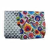 Feder Traumfänger Minky Babydecke Kuscheldecke Krabbeldecke Decke Super weich und flauschig Handarbeit (75x100, Hellbau Blumen)