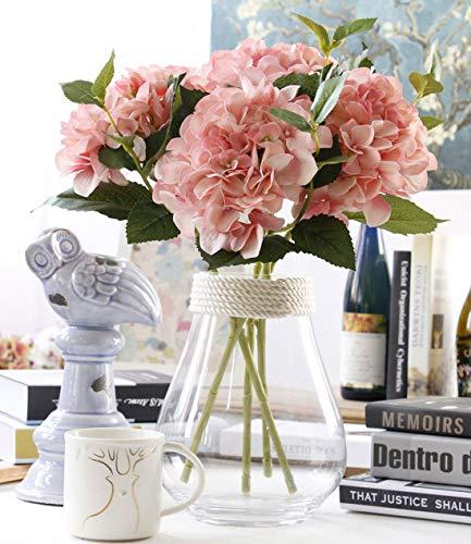 Famibay - Vara de hortensia artificial para decoración del hogar, Plástico y seda, A--rosa, 3 unidades
