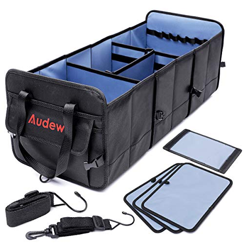Audew Trunk Organizer 3 Large Compartments Collapsible Car Truck Organizers with Tie Down Straps 1680D Oxford Waterproof NonSlip Bottom Storage Box for Car Truck SUV