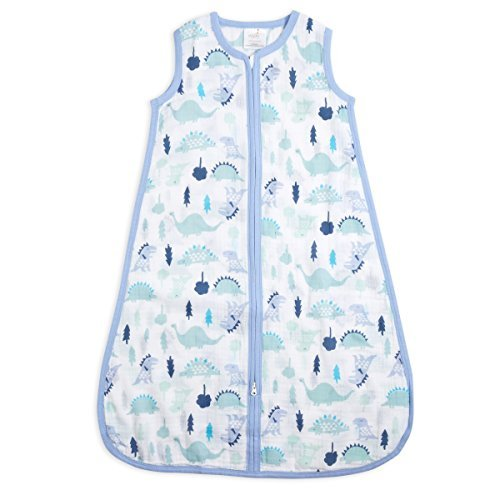 aden + anais Classic Sleeping Bag, 100% Cotton Muslin, Wearable Baby Blanket, Dinos, Large, 12-18 Months