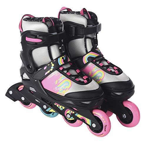 L.A. Sports Inliner Skate Soft Kinder Jugend Damen Größenverstellung 5 Größen verstellbar (33-37, Silbergrau-pink)