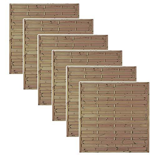 MEIN GARTEN VERSAND Zaundiscount 6 x Sichtschutz Gartenzaun Maß 180 x 180 cm aus Kiefer/Fichte Holz, druckimprägniert Berlin Massiv Set