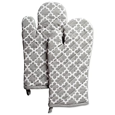 DII Cotton Lattice Oven Mitts, 13 x 7  Set of 2, Machine Washable and Heat Resistant Baking Glove for Everyday Kitchen Cooking-Gray