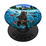 Grizzly Bear Hunting Salmon Fish in Alaska River PopSockets Grip and Stand for Phones and Tablets