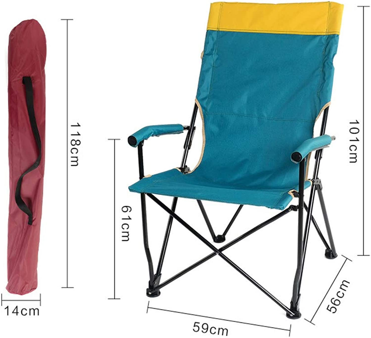 Outdoor Fishing Chair, Summer Travel Folding Camping Barbecue high Back Chair Portable Fishing Chair Stool Beach Lounge Chair,greenspellyellow