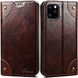 iPhone 11 Pro Max Leather Case, SINIANL iPhone 11 Pro Max Wallet Folio Case Book Design Magnetic Closure with Stand and ID Holder Credit Card Slots for iPhone 11 Pro Max 6.5 inch 2019 Brown