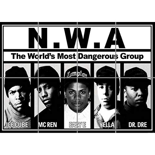 Doppelganger33 LTD NWA Rap Group Dr DRE Ice Cube Easy E Home Decor Wand Kunst Multi Panel Poster drucken 47x33 Zoll
