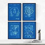 Nacnic Set 4 Stampe artistiche Sfondo Blu Brevetto Cuffie e Giradischi. Manifesti con invenzioni e Vecchi brevetti. Progetto equipaggiamento Tecnico per DJ.