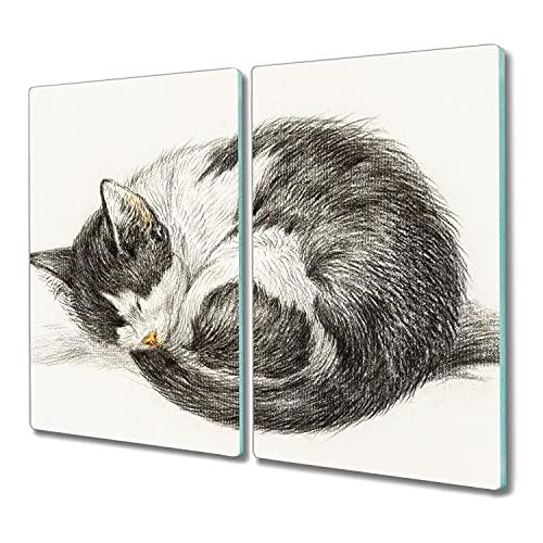 Coloray 2x30x52 madera para cortar Vidrio Placa de tabla protector induccion tablero de vidrio para la cocina tabla de cortar - gato mascota