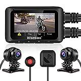 Dash CAM para Motocicleta,WonVon MT1 Cámara de Motocicleta con GPS 1080P 2.7''LCD Pantalla Cámara de Doble Lente Frontal y Trasera, WiFi Incorporado,Visión Nocturna, G-Sensor, Grabación en Bucle