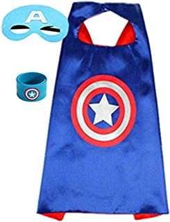 Superhero Capes for Kids, Dress up Costumes-Satin Cape and Felt Mask with Bracelet