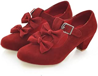 Woman's Low Heel Vintage Lolita Shoes Cute Bowknot Mary Jane Shoes