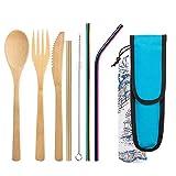 Zeattain Juego de Cubiertos de Bambú, Certificado por la FDA, Ecológico, Juego de Cubiertos de Viaje de Bambú, Paja de Acero Inoxidable de Color Brillante, Juego de 7 Piezas