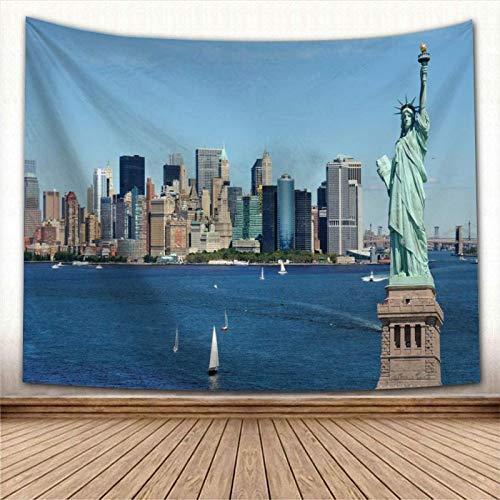 Tapiz,Estatua De La Libertad En El Puerto De Nueva York Edificios Modernos De La Ciudad Cerca Del Océano Azul Tapices Skyline 3D View Decoración Vintage Trippy Large Manta Decoración Para Dormito