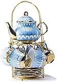 Juego de té de porcelana británica de Royal British de 6 tazas de té y platillos de cerámica para adultos de porcelana...