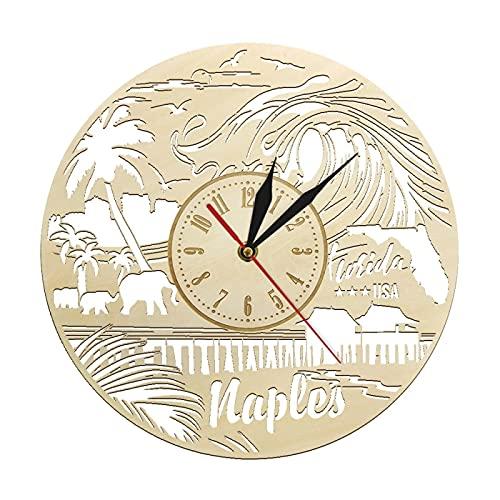 Reloj de Pared Naples Florida State Skyline Reloj de Pared de Madera Arte de EE. UU. Sala de Estar Decoración del hogar Reloj de Pared rústico Vintage Regalos de Viaje de Florida