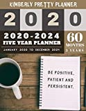 5 year monthly planner 2020-2024: monthly planner 5 year   internet login and password   5 Year Goal Planner   be positive patient and persistent inspire quote design