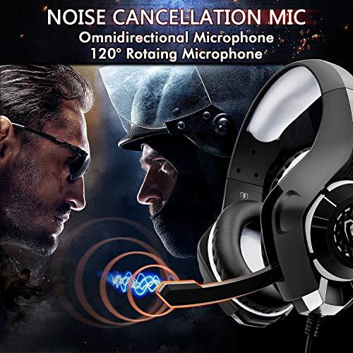 Beexcellent Gaming Headset für PS4 Xbox One PC, Illusions LED Licht Stereo Bass Sound 3.5mm Professional Kopfhörer mit Rauschunterdrückungsmikrofo für Laptop Mac Handy Tablet (LAN)