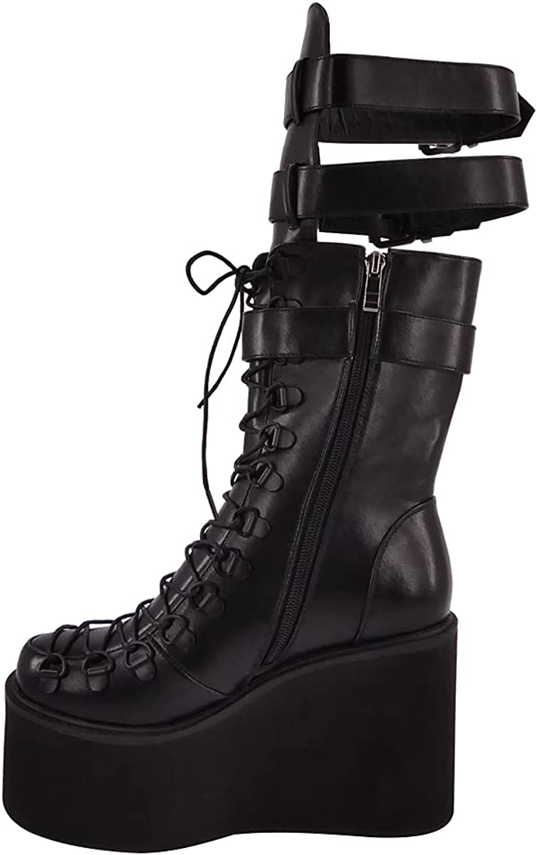 onlymaker Women's Round Close Toe Zipper Buckle Lace Up Wedge Heel Mid Calf Boots
