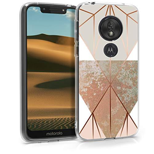 kwmobile Cover Compatibile con Motorola Moto G7 Play (EU-Version) - Stampa UV in TPU Bordo Trasparente - Custodia Protettiva - Giochi di Triangoli Beige/Oro Rosa/Bianco