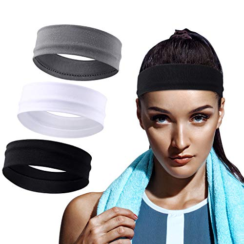 WILLBOND 3 Pieces Elastic Sport Headbands Yoga Cotton Headbands Mixed Colors Workout Sweatbands Non Slip Exercise Fitness Headbands for Teens and Adults