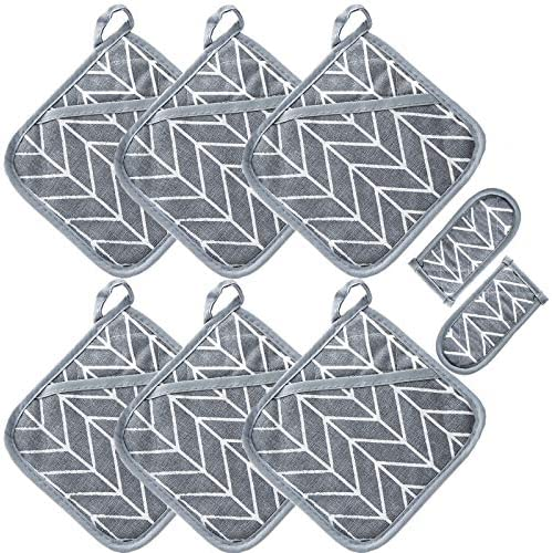 Win Change Heat Resistant Potholders Hot Pads 6 Kitchen Pot Holders Set with 2 Pan Hot Handle product image