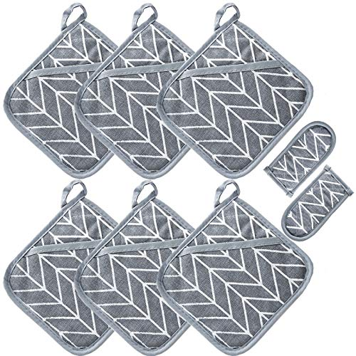 Win Change Heat Resistant Potholders Hot Pads-6 Kitchen Pot Holders Set with 2 Pan Hot Handle Holders Trivet for Cooking and Baking,with Recycled Cotton Infill Terrycloth Lining(Grey,8 Piece)