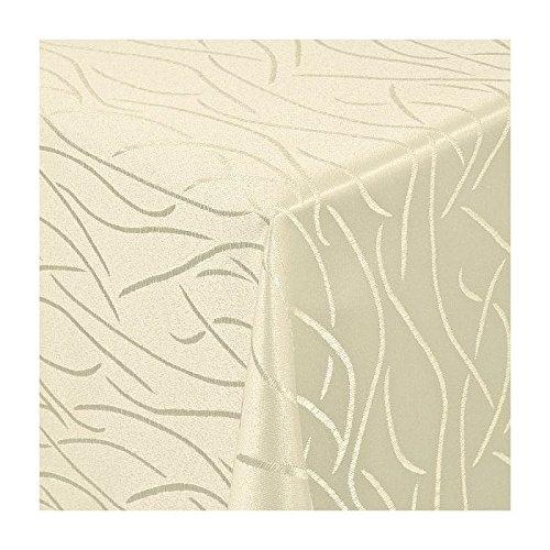 TEXMAXX Damast Tischdecke Maßanfertigung im Streifen-Design in Creme-Champagner 100x160 cm eckig, weitere Längen und Farben wählbar