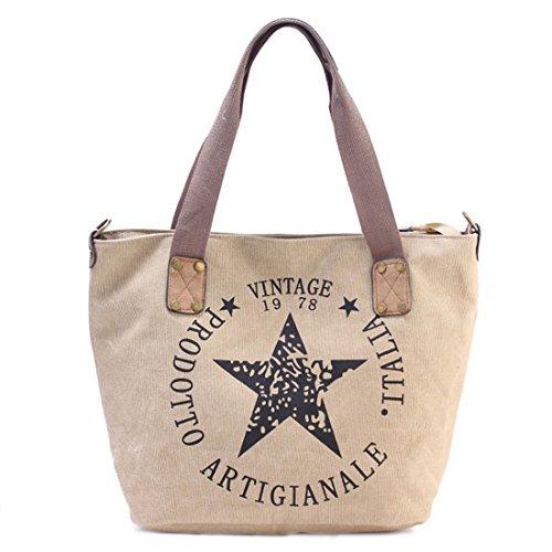 GWELL Canvas Handtasche mit Stern Umhängetasche mit Schultergurt und Reißverschluss beige