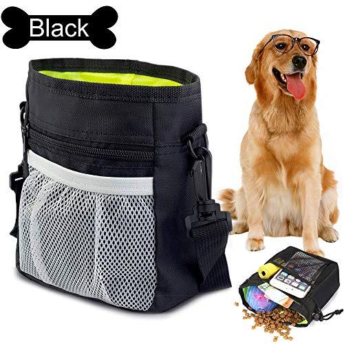 Futterbeutel für Hunde, Premium Hundefutter Taschen, Praktischer Leckerlibeutel mit Integriertem Hundkotbeutel Spender Verstellbarer Taillen/Schulterriemen für Hundetraining und Spaziergänge(Schwarz)