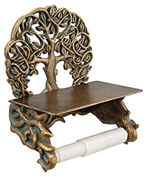 Decorative Celtic Tree of Life Toilet Paper Holder with Shelf - Bronze Finish Wall Decor