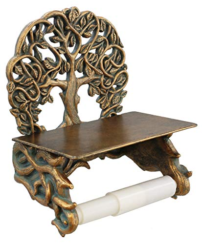Decorative Celtic Tree of Life Toilet Paper Holder with Shelf - Bronze Finish Wall Decor