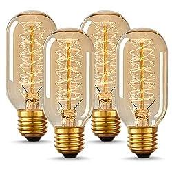 cheap Vintage Edison Pair DORESshop T45, Vintage Tubular Style Light Bulbs, Warm White,…